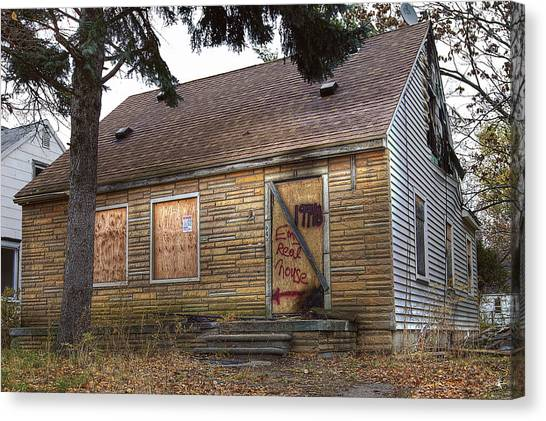 Detroit Pistons Canvas Print - Eminem's Childhood Home Taken On November 11 2013 by Nicholas  Grunas