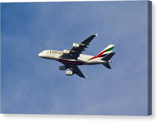 Air Traffic Control Canvas Print - Emirates A380 by David Pyatt