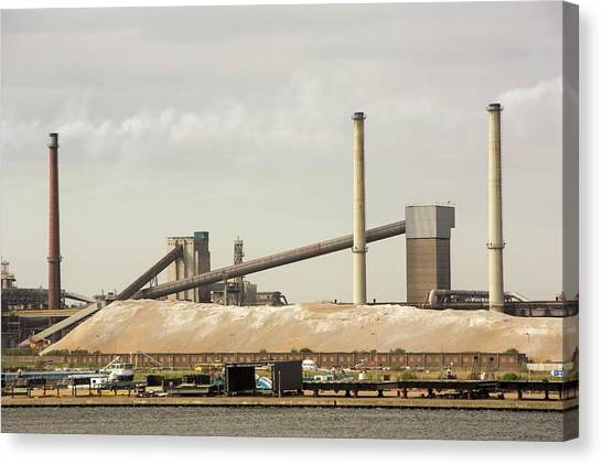 Climate Change Canvas Print - Emissions From A Steel Works by Ashley Cooper