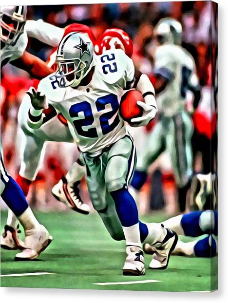 Running Backs Canvas Print - Emmitt Smith by Florian Rodarte