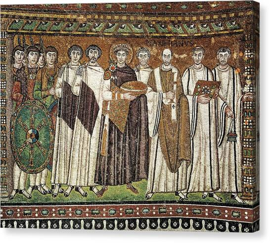 Byzantine Art Canvas Print - Emperor Justinian And His Court. Ca by Everett
