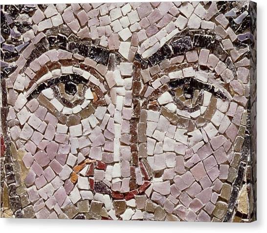 Byzantine Art Canvas Print - Emperor Justinian I 483-565 C.547 Ad Mosaic Detail Of 140283 by Byzantine School