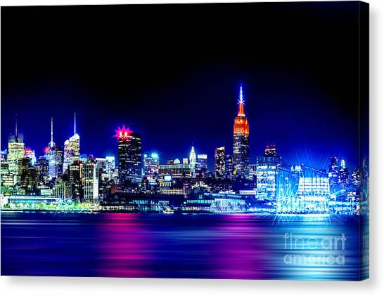 New Jersey Canvas Print - Empire State At Night by Az Jackson