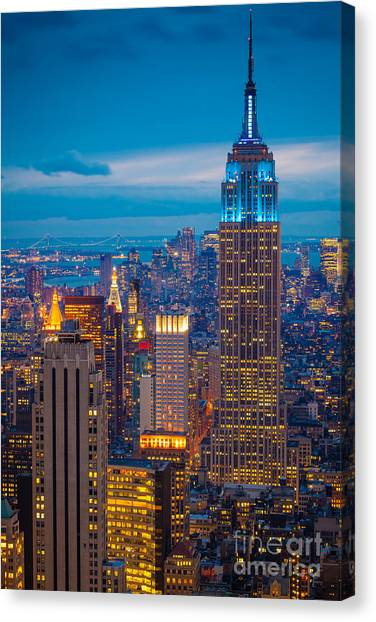 New York Skyline Canvas Print - Empire State Blue Night by Inge Johnsson
