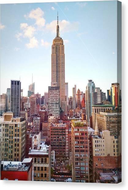 Empire State Building Amidst Modern Canvas Print by Matteo De Santis / Eyeem