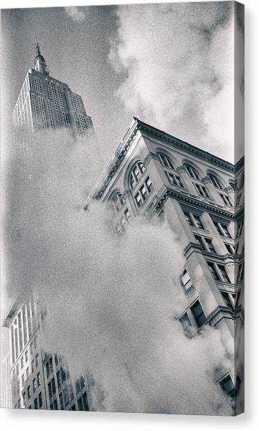 Empire State Building And Steam Canvas Print