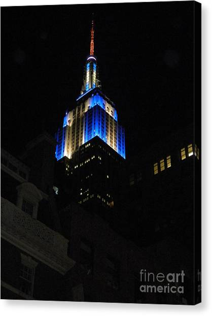 Empire State Building At Night Canvas Print