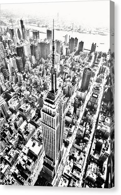 Empire State Building Hdr Bw Canvas Print by Kim Lessel