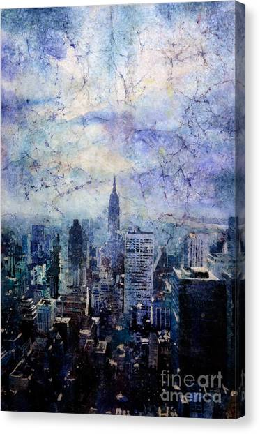 Empire State Building In Blue Canvas Print