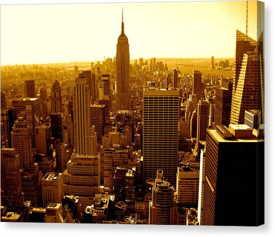 Manhattan And Empire State Building Canvas Print