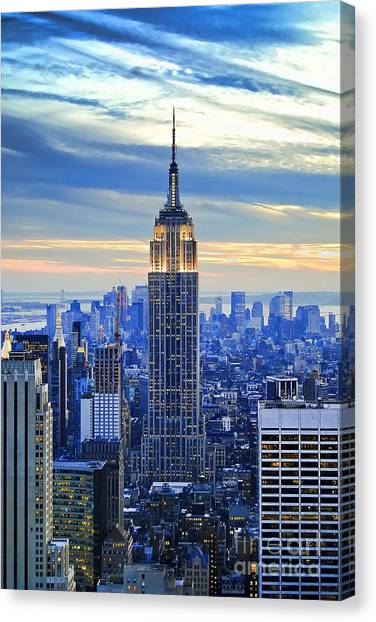 Sunset Canvas Print - Empire State Building New York City Usa by Sabine Jacobs