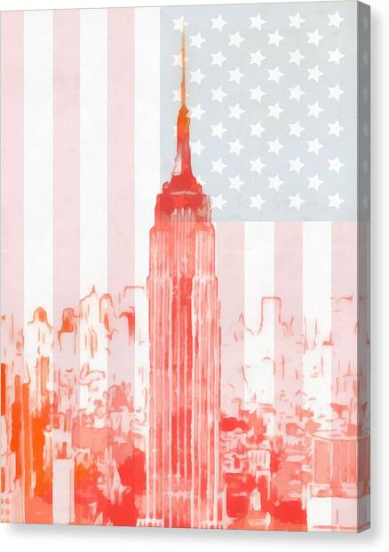 Nyfd Canvas Print - Empire State Building On American Flag by Dan Sproul