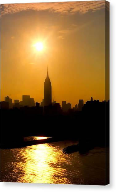 City Sunrises Canvas Print - Empire Sunrise by Joann Vitali