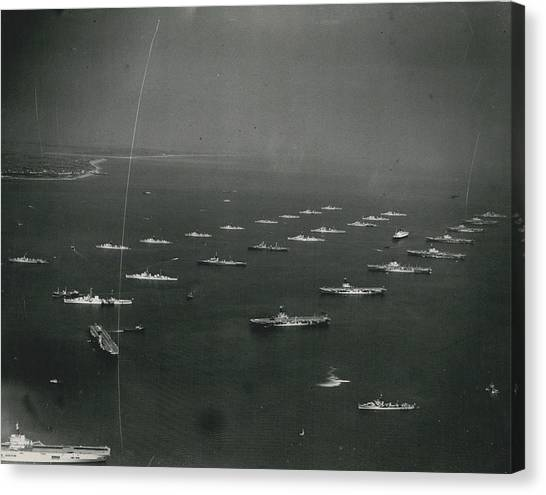 Empire�s Warships Line Up For The Coronation Review At Canvas Print by Retro Images Archive