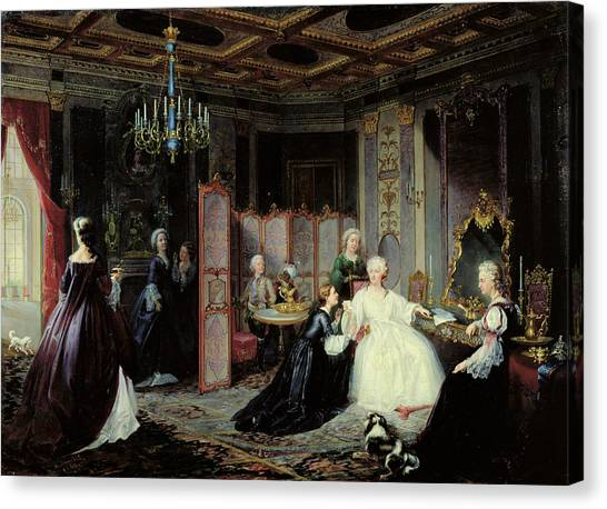 Rulers Canvas Print - Empress Catherine The Great 1729-96 Receiving A Letter, 1861 Oil On Canvas by Jan Ostoja Mioduszewski