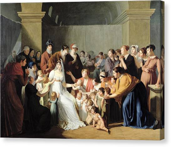 Charities Canvas Print - Empress Josephine 1763-1814 Among The Children, 1806 Oil On Canvas by Charles Nicolas Raphael Lafond