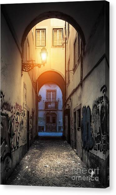 Graffiti Walls Canvas Print - Empty Alley by Carlos Caetano