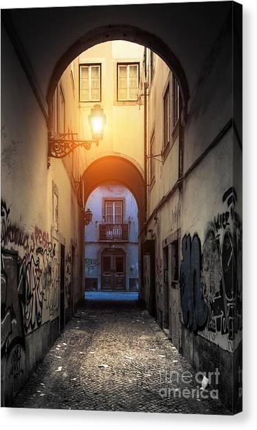 Graffiti Walls Canvas Print - Empty Alley by Carlos Caetano