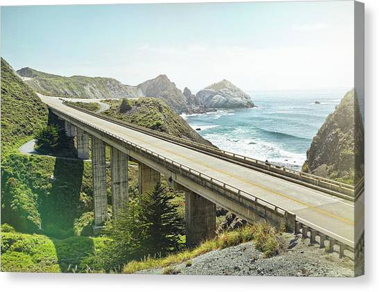 Empty Bridge Overlooking The Sea Canvas Print by James O'neil