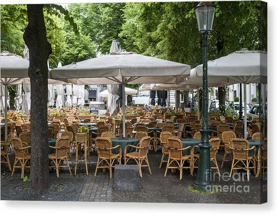 Maastricht Canvas Print - Empty Outdoor Cafe In Europe by Patricia Hofmeester