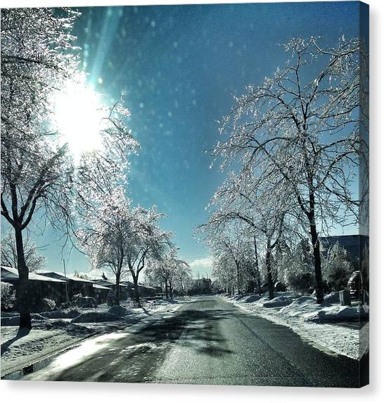 Empty Street In Winter Canvas Print by Teresa Tagliacozzo / Eyeem