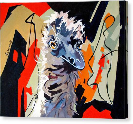 Emu Design In Acrylic Canvas Print by Rae Andrews