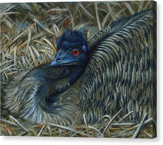 Emus Canvas Print - Emu Elegance by Cara Bevan