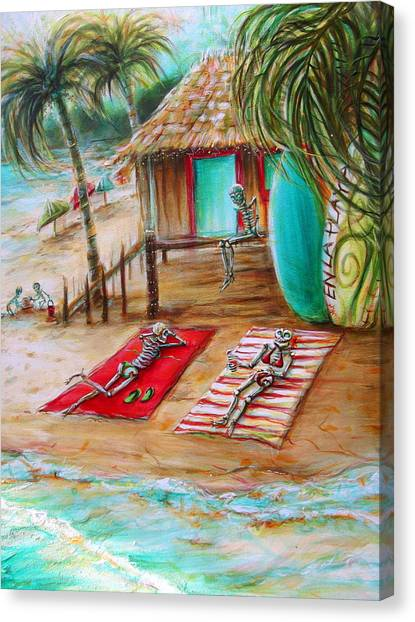 Bikini Canvas Print - En La Playa by Heather Calderon