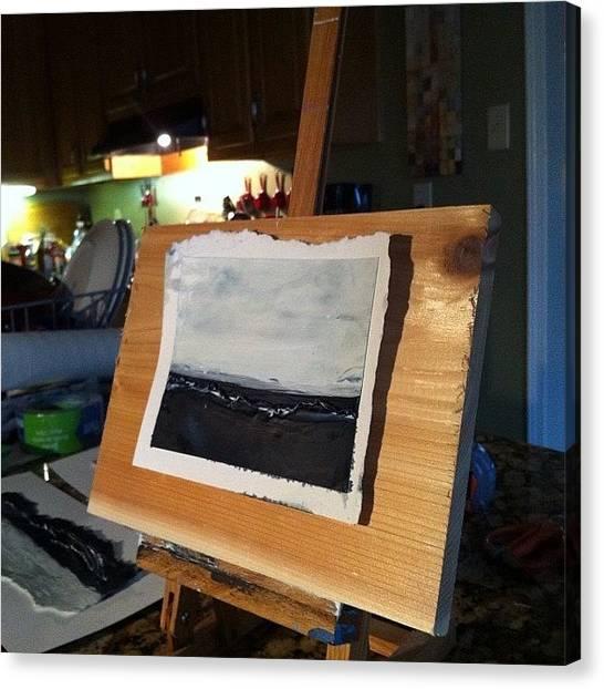 Presentations Canvas Print - Encaustic Art On Cedar. Cait's Idea by Jess Dudley