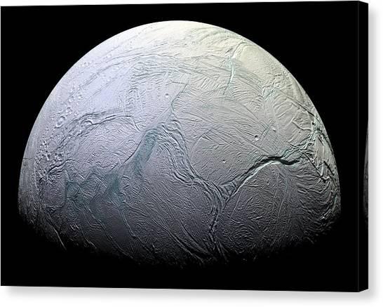 Saturn Canvas Print - Enceladus by Adam Romanowicz