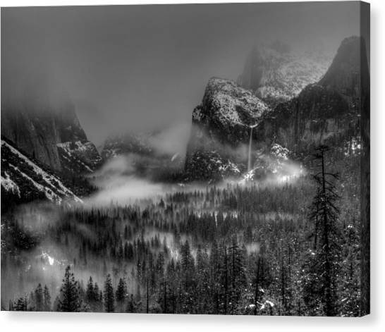 Mountain Cliffs Canvas Print - Enchanted Valley In Black And White by Bill Gallagher