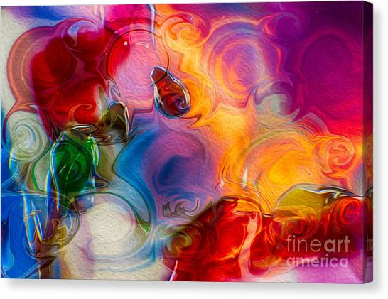 Canvas Print featuring the painting Enchanting Flames by Omaste Witkowski