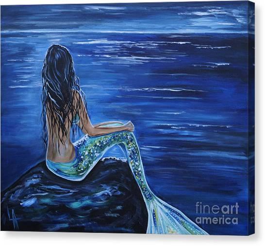 Print On Canvas Print - Enchanting Mermaid by Leslie Allen