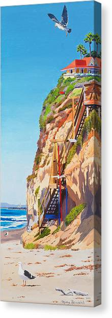 Beach Cliffs Canvas Print - Encinitas Beach Cliffs by Mary Helmreich