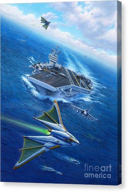 Navy Canvas Print - Encountering Atlantis by Stu Shepherd