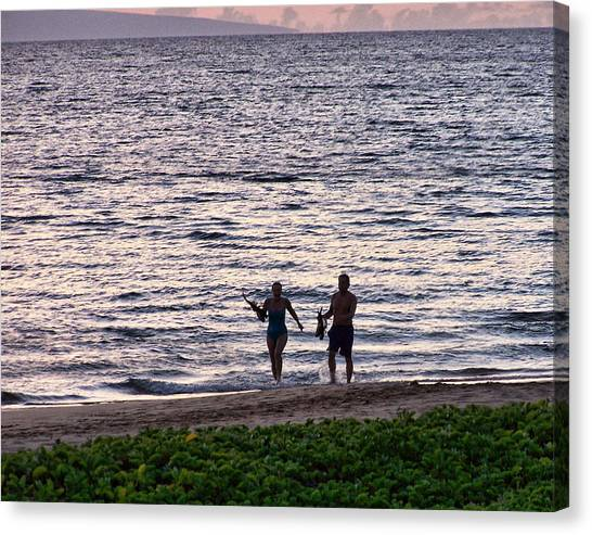 Snorkling Canvas Print - End Of A Perfect Day by Ron Roberts