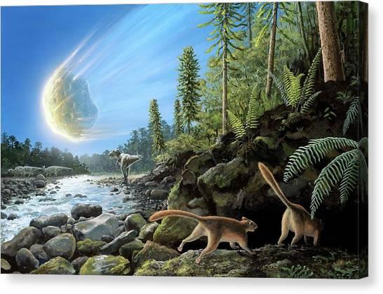 Tyrannosaurus Canvas Print - End Of Cretaceous Kt Event by Richard Bizley