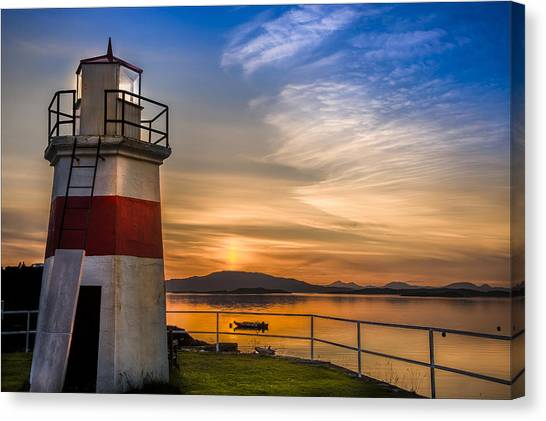 Lighthouse Crinan Canal Argyll Scotland Canvas Print