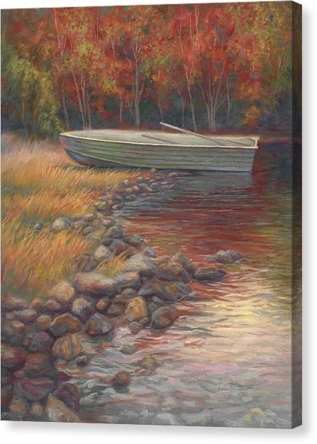 Rowboat Canvas Print - End Of The Day by Lucie Bilodeau