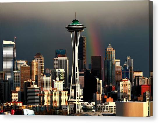Seattle Skyline Canvas Print - End Of The Rainbow by Benjamin Yeager