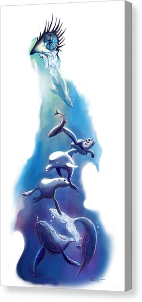 Blue Whales Canvas Print - endangered sea life Water colour giclee print with eye and sea mammals Ocean Tears by Sassan Filsoof