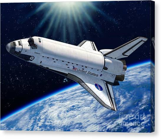 Space Ships Canvas Print - Endeavour In Space by Stu Shepherd