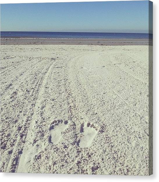 White Sand Canvas Print - Sand Between Your Toes by Kim Hinton