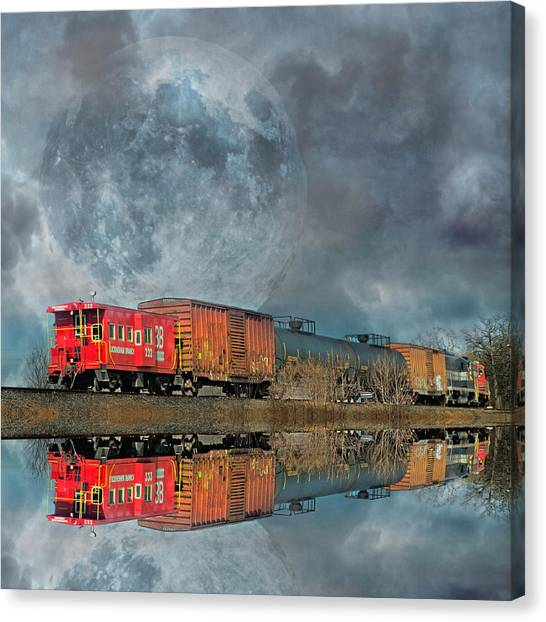 Caboose Canvas Print - End's Reflection by Betsy Knapp