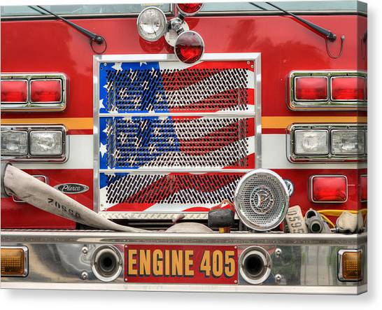 Volunteer Firefighter Canvas Print - Engine 405 by JC Findley