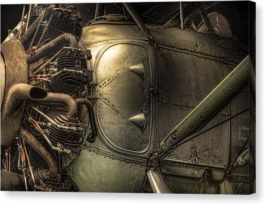 Radial Engine And Fuselage Detail - Radial Engine Aluminum Fuselage Vintage Aircraft Canvas Print