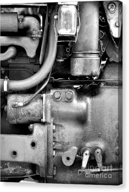 Engine Black And White Canvas Print