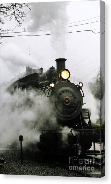 Engine Number 40 Making Steam Pulling Into New Hope Passenger Train Terminal Canvas Print