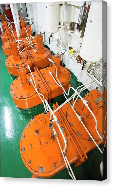 Academic Art Canvas Print - Engine Room On Russian Research Vessel by Ashley Cooper