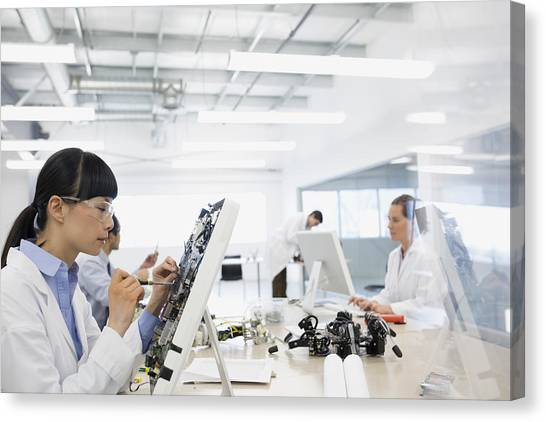 Engineer Assembling Computer Parts Canvas Print by Hero Images
